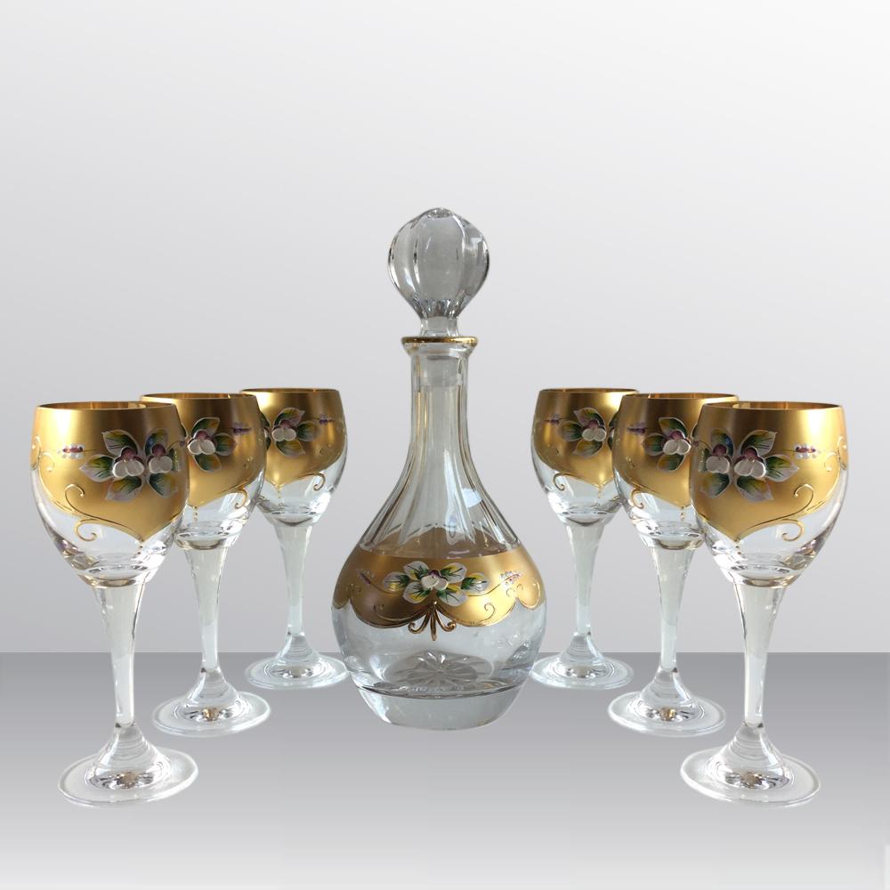 Bộ bình ly pha lê mạ vàng 40088-085-12170-210AUM