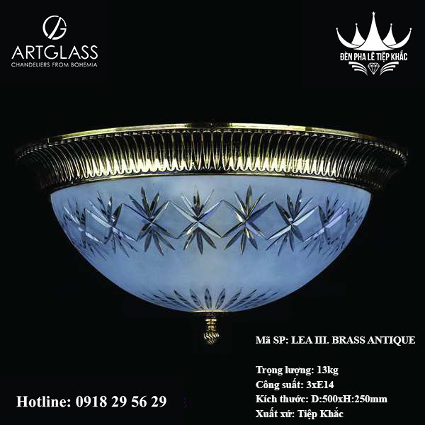 Đèn lồng ốp trần LEA III. Brass Antique