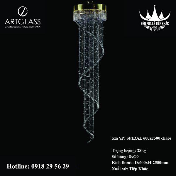 Đèn thả thông tầng SPIRAL CHAOS 600x2500