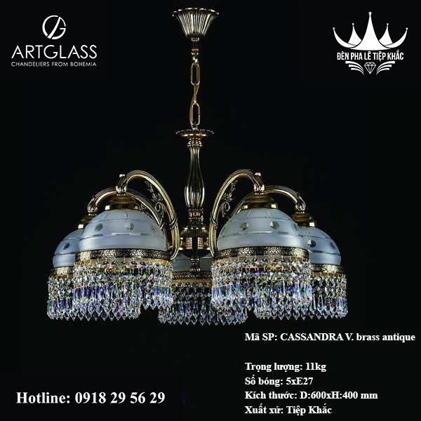 Đèn Phòng Khách CASSANDRA V. brass antique